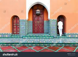 moroccan architecture exterior detail painted doors stock photo