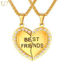 friend heart necklace images U7 brand heart necklace friendship jewelry friend pendant chains jpg