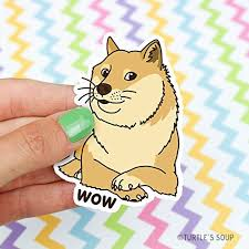 Doge Wow Meme - com doge vinyl sticker wow shiba inu gift for dog lover