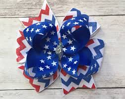 white and blue bows 4th of july bow etsy