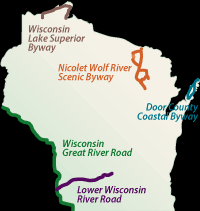 wisconsin scenic drives map wisconsin department of transportation wisconsin scenic byways program
