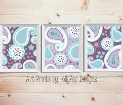 Purple Nursery Wall Decor Nursery Wall Decor Baby Prints Room Purple Teal