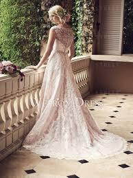pink lace wedding dress scoop neck rhinestone pink lace wedding dress