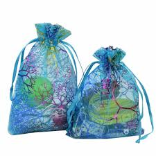 coralline organza gift bags drawstring jewelry packaging pouches
