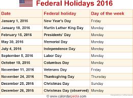 federal holidays 2016