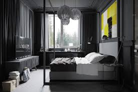 dark blue paint for small bedroom layout with queen bed and using
