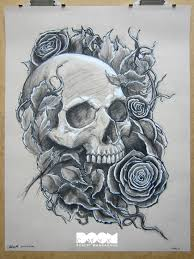 skull and roses work number 1 charcoal on 18x24 strathmore toned
