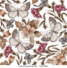 antique flowers background free vector stock
