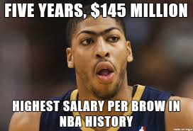 Anthony Davis Memes - anthony davis meme compliments makes fun of his unibrow at the