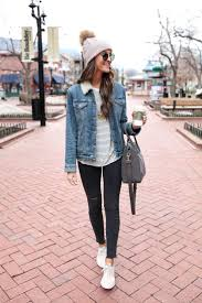 casual winter denim jacket nike juvenate sneakers winter fashion in boulder