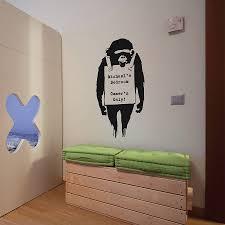 personalised banksy monkey sign wall sticker by the binary box personalised banksy monkey sign wall sticker