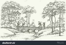 vector landscape sketch old stone bridge stock vector 170419664