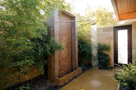 Bathroom Shower Wall Ideas Bathroom Outside Bathroom Idea With Bamboo Plants Also