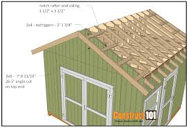 gable barn plans 12x12 shed plans gable outriggers house plan construct101 storage