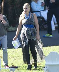 Cougar Town Memes - busy philipps hides figure in flowing frock on set of cougar town