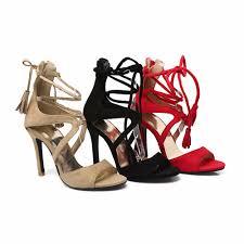 summer pu leather sandals women super high heels fringe gladiator