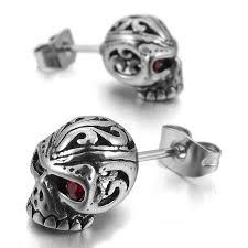 cool earrings for men 2017 new cool men rock skeleton skull stainless