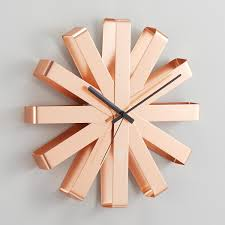 copper ribbon umbra copper ribbon wall clock the container store
