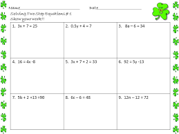solving two step equations worksheets st patrick s day by math