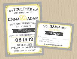 wedding invitations rsvp yellow and gray typographic wedding invitation set printable