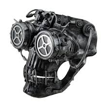 steamskully metallic finish steampunk skull with spiked goggles