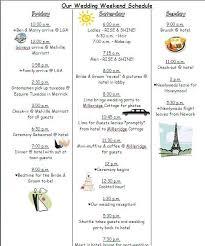 Destination Wedding Itinerary Template Weekend Scheduled Template