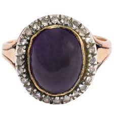 amy amethyst 18ct white gold antique georgian cabochon amethyst diamond ring at 1stdibs