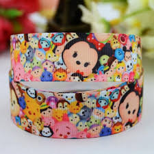 printed grosgrain ribbon aliexpress buy 7 8 22mm tsum tsum character
