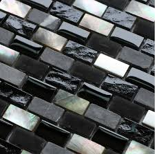 grey stone mosaic black glass mosaic kitchen backsplash tile