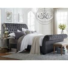 Tufted Sleigh Bed King Shop For Baxton Studio Pell Contemporary Black Velvet Upholstered