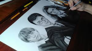 drawing harry potter ron weasley and hermione granger youtube