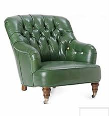furniture green leather comfy chair with arm and tufted back