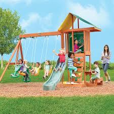 Backyard Swing Set Ideas Furniture Interesting Oak Wood Gorilla Playset With Green Canopy