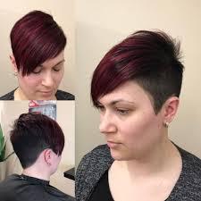 undercut women s hairstyles women u0027s burgundy undercut asymmetrical pixie