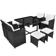 White Wicker Desk by Vidaxl 21 Piece Outdoor Dining Set Black Poly Rattan Vidaxl Com