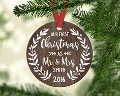 wedding gift first christmas ornament married personalized gift