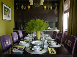 apartments elegant dining room with black table and purple chair