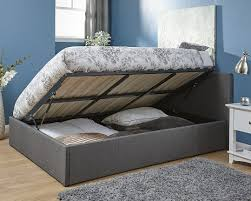 Single Ottoman Bed 3 U0027 Single Ottoman Side Lift Fabric Bed Frame Grey One Stop