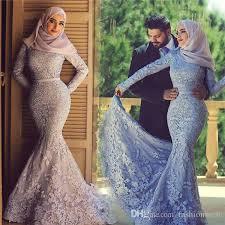 lace mermaid dress 2016 muslim high neck lace long sleeve wedding