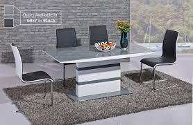 GA K Designer White Gloss Grey Glass  Cm Dining Set   Encore - Designer table and chairs