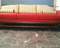 1960s mid century modern white vinyl and chrome gondola sofa