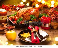 christmas dinner table setting roasted turkey christmas dinner table served stock photo royalty