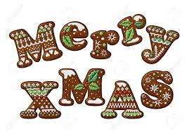 merry christmas gingerbread cookies alphabet letters stock photo