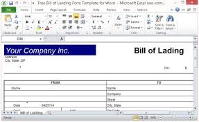 Bill Of Lading Template Excel Free Bill Of Lading Form Template For Excel