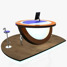 virtual tv studio news podium desk chair imac27 ip 3d model