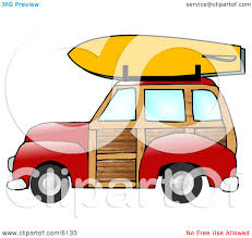 surf car clipart woody car with a surfboard on the roof rack clipart illustration