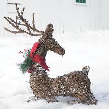 pre lit rattan deer outdoor lighted decorations