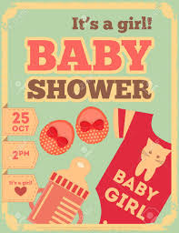 baby shower poster baby shower retro poster it s a girl vector illustration