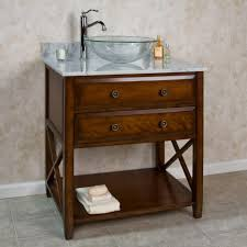 Glass Bathroom Sink Vanity Cherry Teak Wood Furnising Bathroom Vanity With Double Drawers And