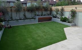 small garden design travertine paving artificial easi grass fake